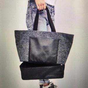 DSW Wool Felt Tote Bag With Shoe Compartment NWT